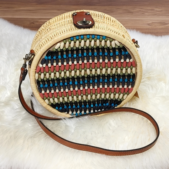Patricia Nash Round Beaded Front Rattan Bag